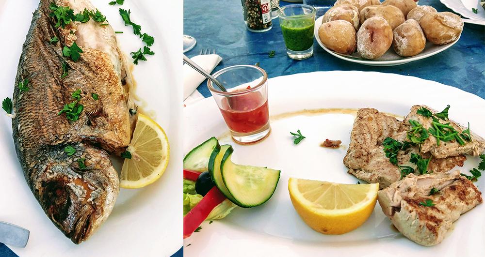 """Goldbrasse und Thunfisch-Filet. Im Hintergrund die speziellen """"Runzel-Erdäpfel"""" - papas arrugadas - der Kanaren."""